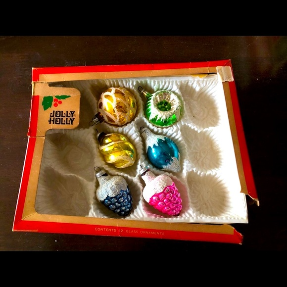 Six Vintage Hand-painted Glass Ornaments